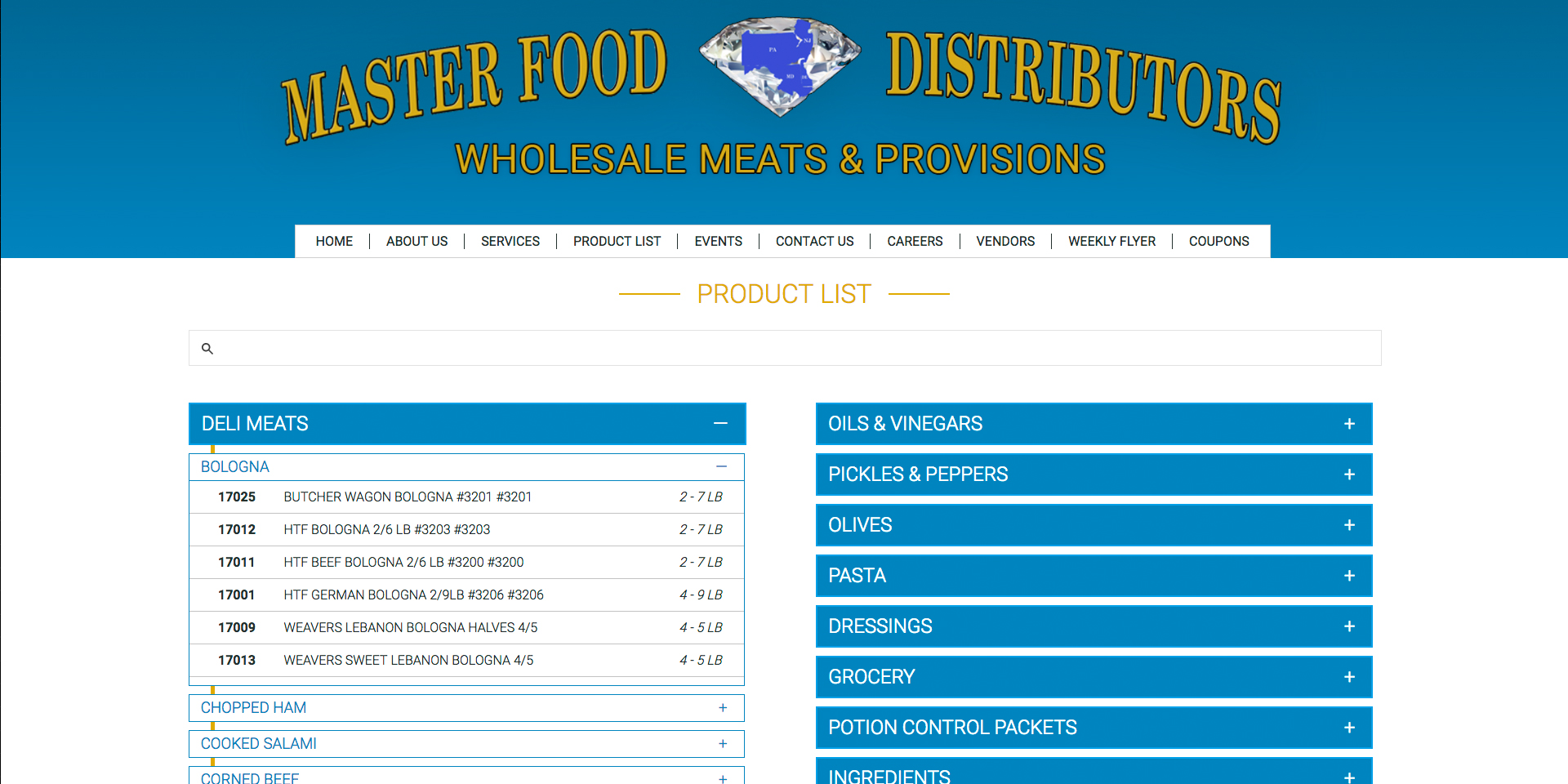 Responsive product list for the Masterfood website