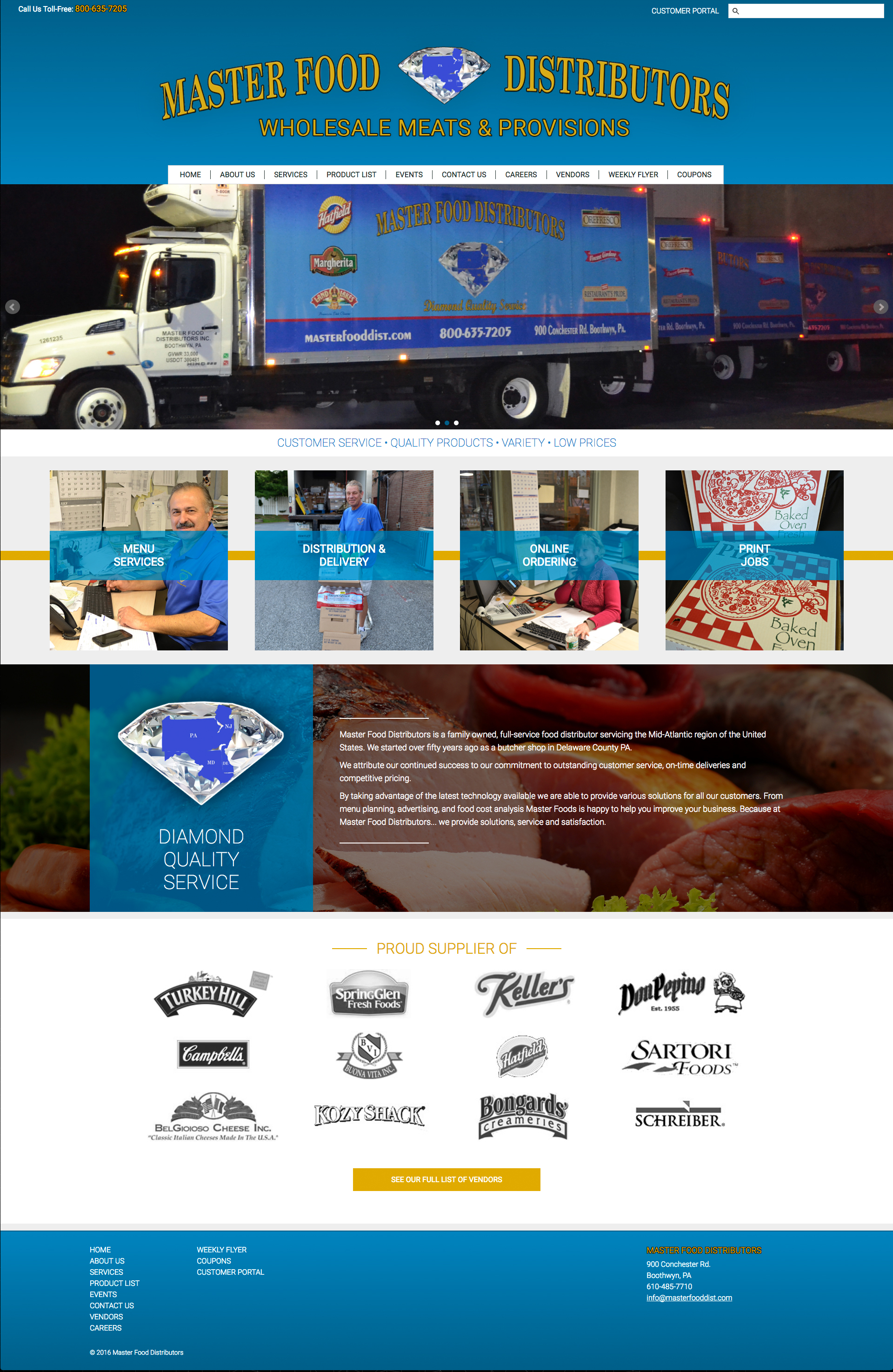 Responsive desktop services page for the Masterfood website