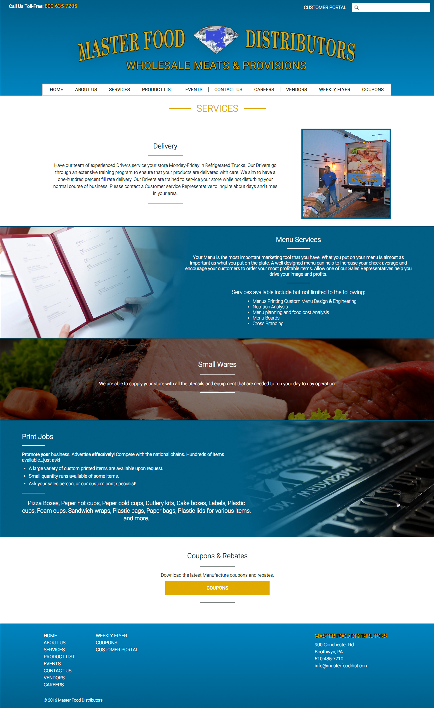 Responsive tablet services page for the Masterfood website